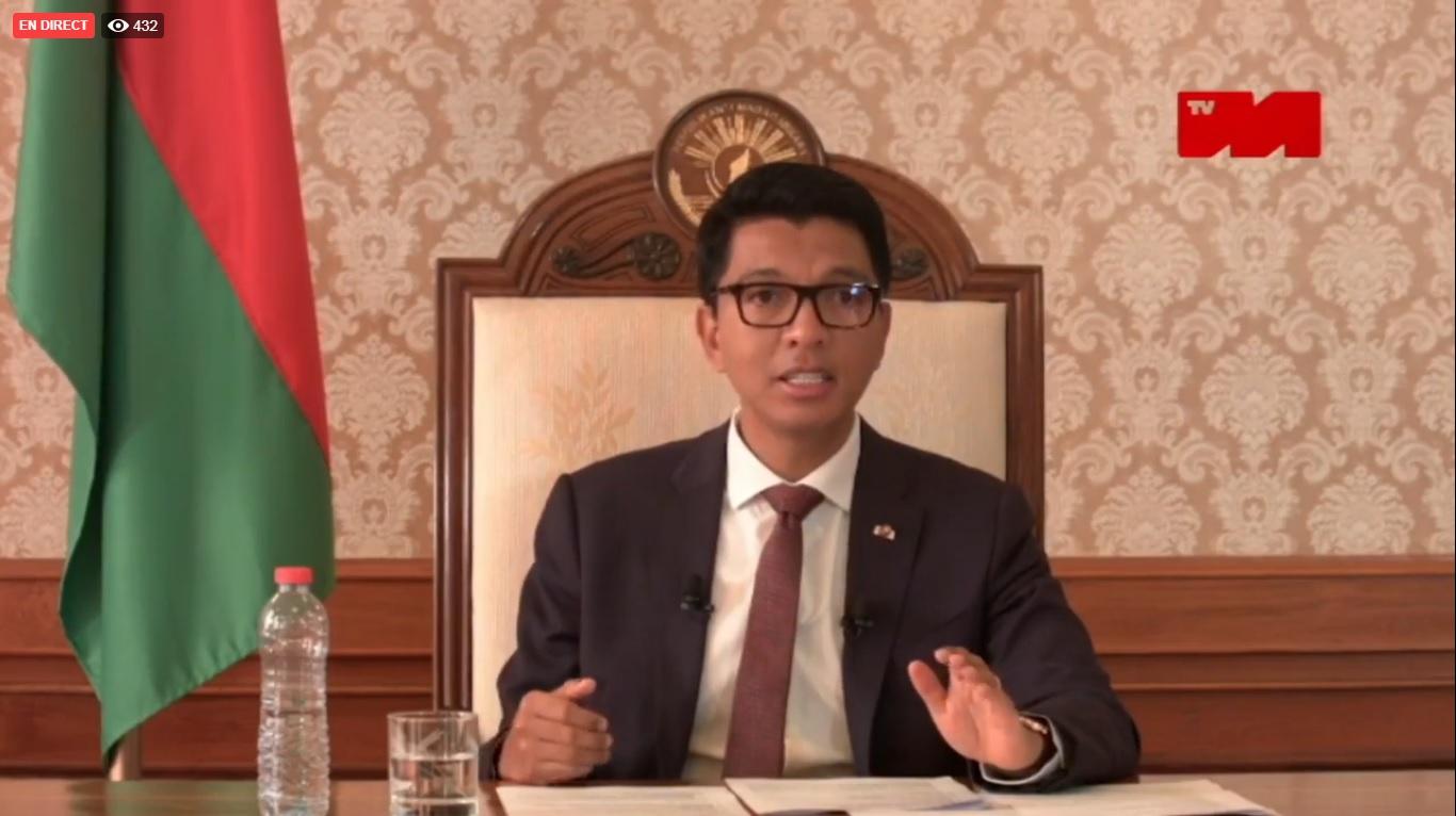 VIDEO. L'intervention d'Andry Rajoelina sur la chaîne de télévision nationale malgache
